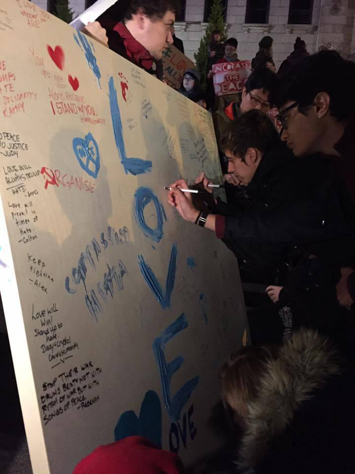 Some 220 people left messages of goodwill and support on a canvas at the rally (Carling Jackson)