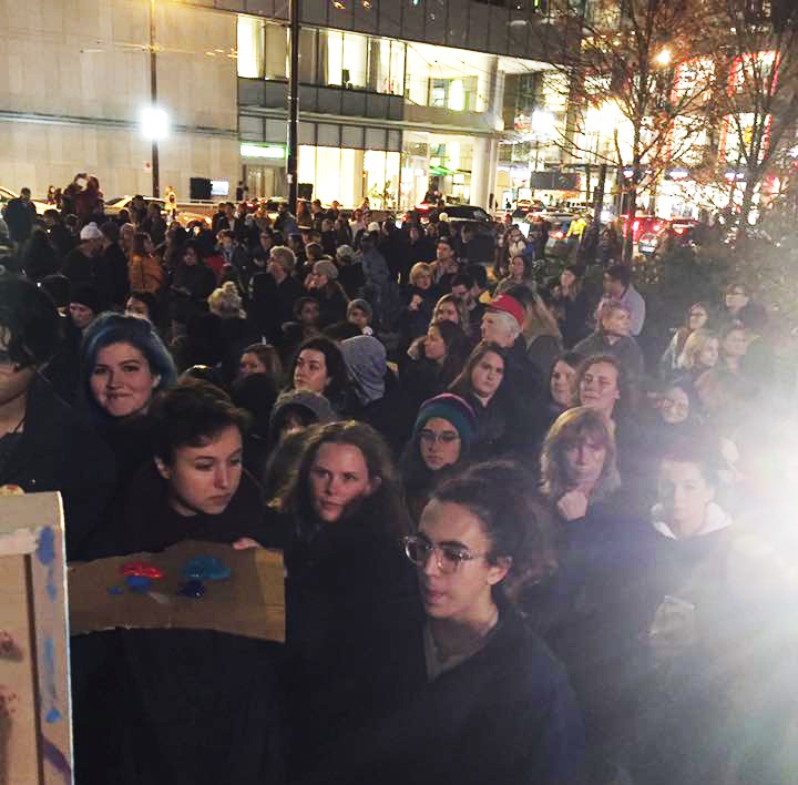About 350 people attended the anti-Trump rally in Vancouver (Carling Jackson)