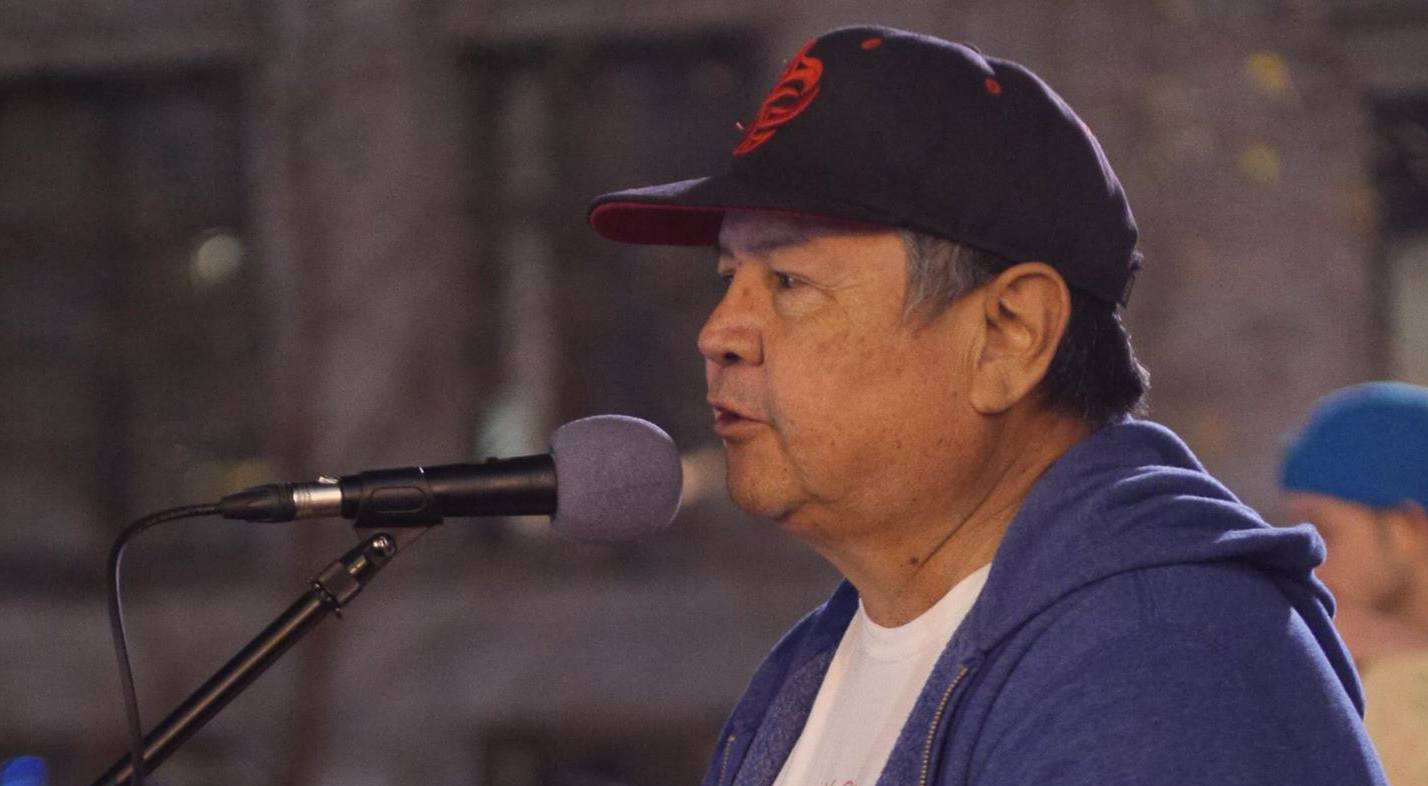 Gordon August spoke in solidarity from a First Nations perspective at the rally (Carling Jackson)
