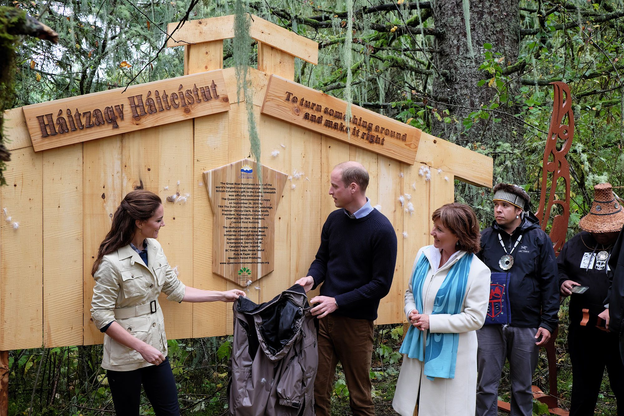 Catherine Duchess of Cambridge and Prince William with BC Premier Christy Clark in the Great Bear Rainforest in September (Province of BC)