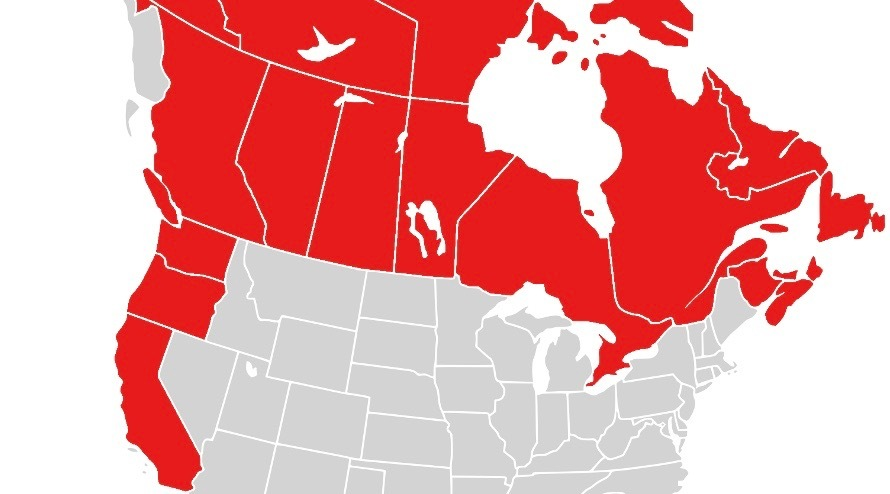 Canada California Map Canadians are inviting California, Oregon, and Washington State to