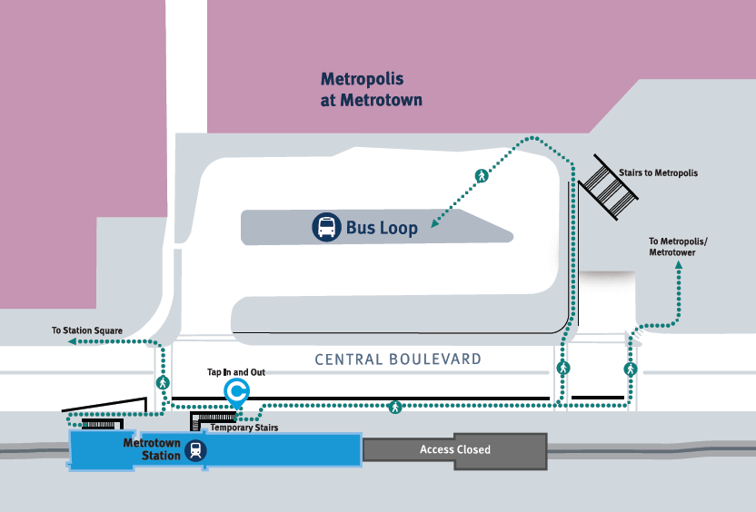 Map of temporary layout for Metrotown SkyTrain Station and bus loop (TransLink)