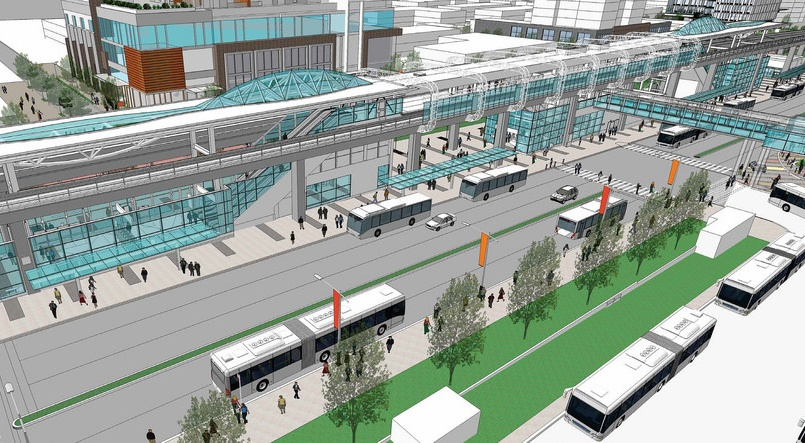 A rendering of metrotown skytrain station upgrades translink