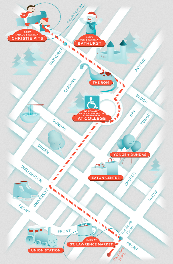The Route of HoHo-Happiness/Santa Claus Parade Toronto