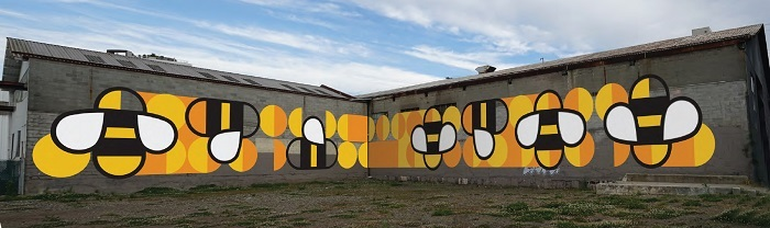 This bee mural for the future pop-up park at Fifth and Pine was painted earlier this year (City of Vancouver)
