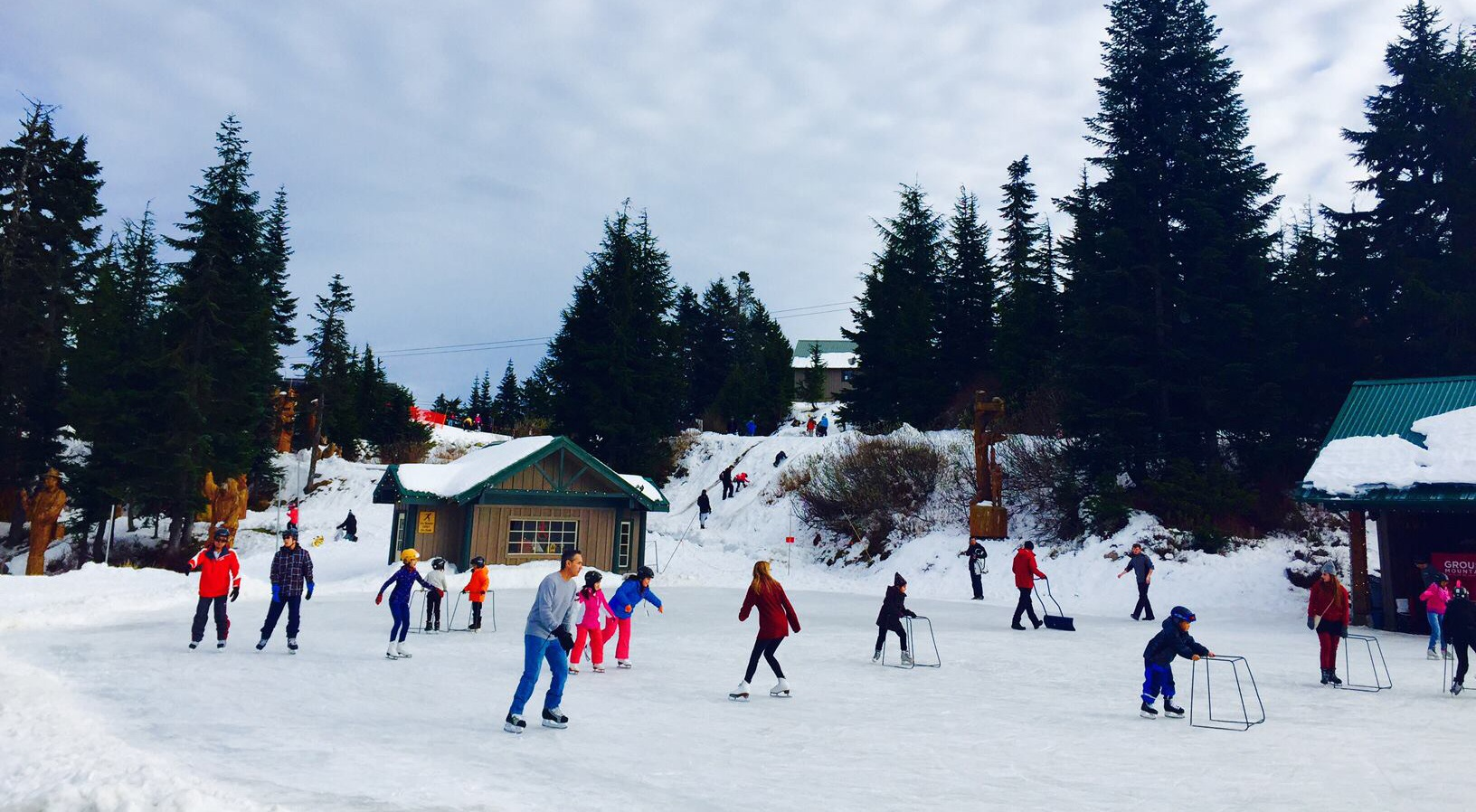 Grouse Mountain's skate pond opens and there's snow on the North Shore