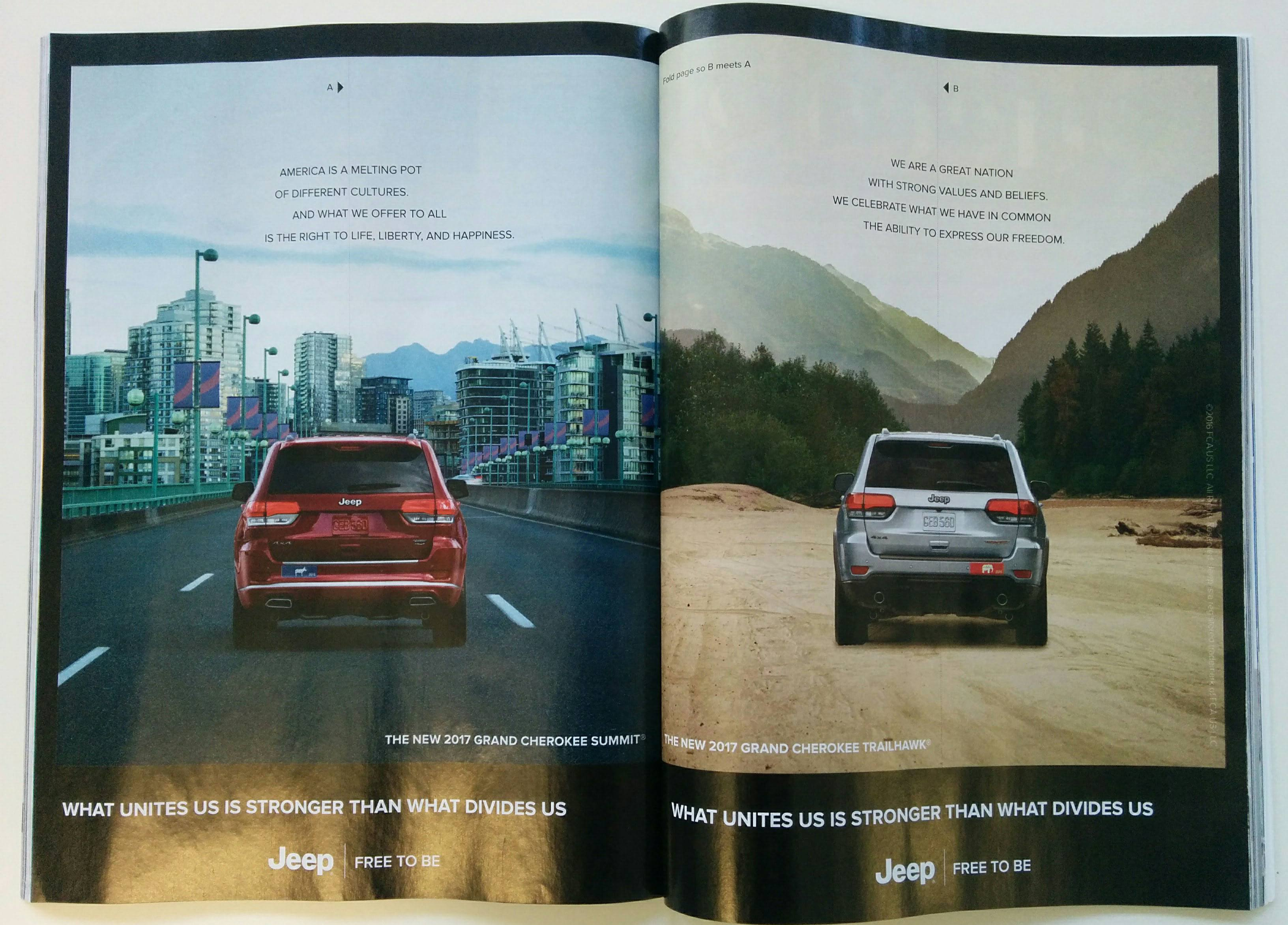 The Jeep ad featured in Vanity Fair (Vanity Fair)