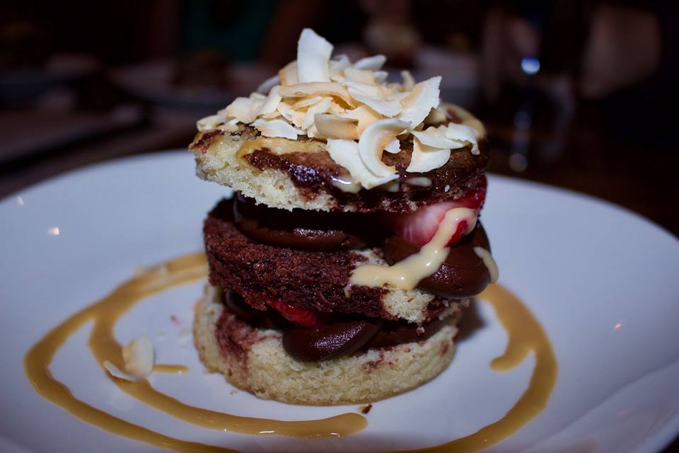 Vegan Chocolate Mousse with Salted Coconut Caramel, Sponge Cake