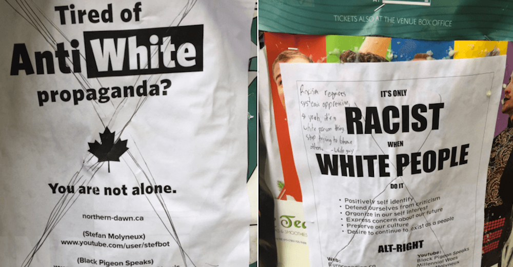 Racist posters found in Edmonton call out 'anti-white propaganda'