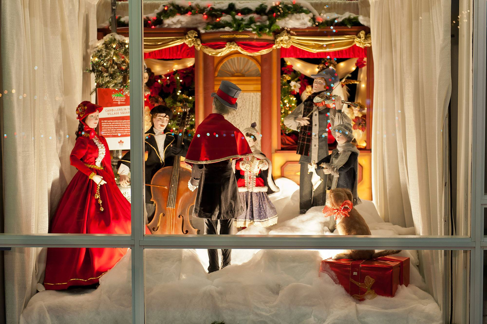 The Woodward's Windows displayed for Christmas at Canada Place (Port of Vancouver)