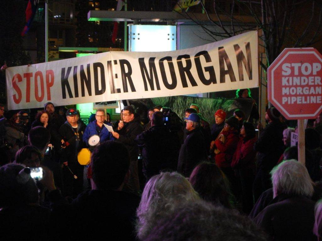 A protest against the Kinder Morgan Pipeline took place in Vancouver, just hours after Justin Trudeau approved the project on Tuesday. (Image: HiMY SYeD/ Twitter)