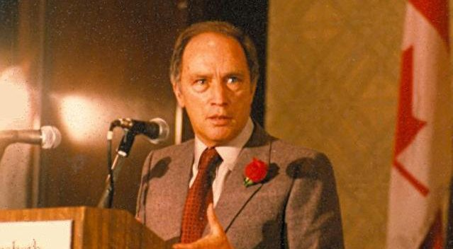 Canadian Prime Minister Pierre Elliot Trudeau speaking in 1980 (Wikimedia Commons)