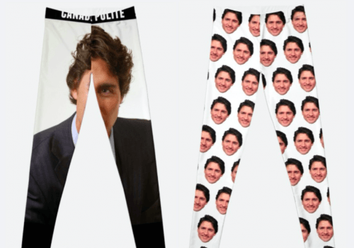 Trudeau tights (Redbubble/ Daily Hive composite)