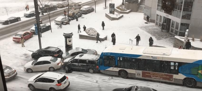Snowfall causes MASSIVE car pileup in Montreal today (VIDEO)