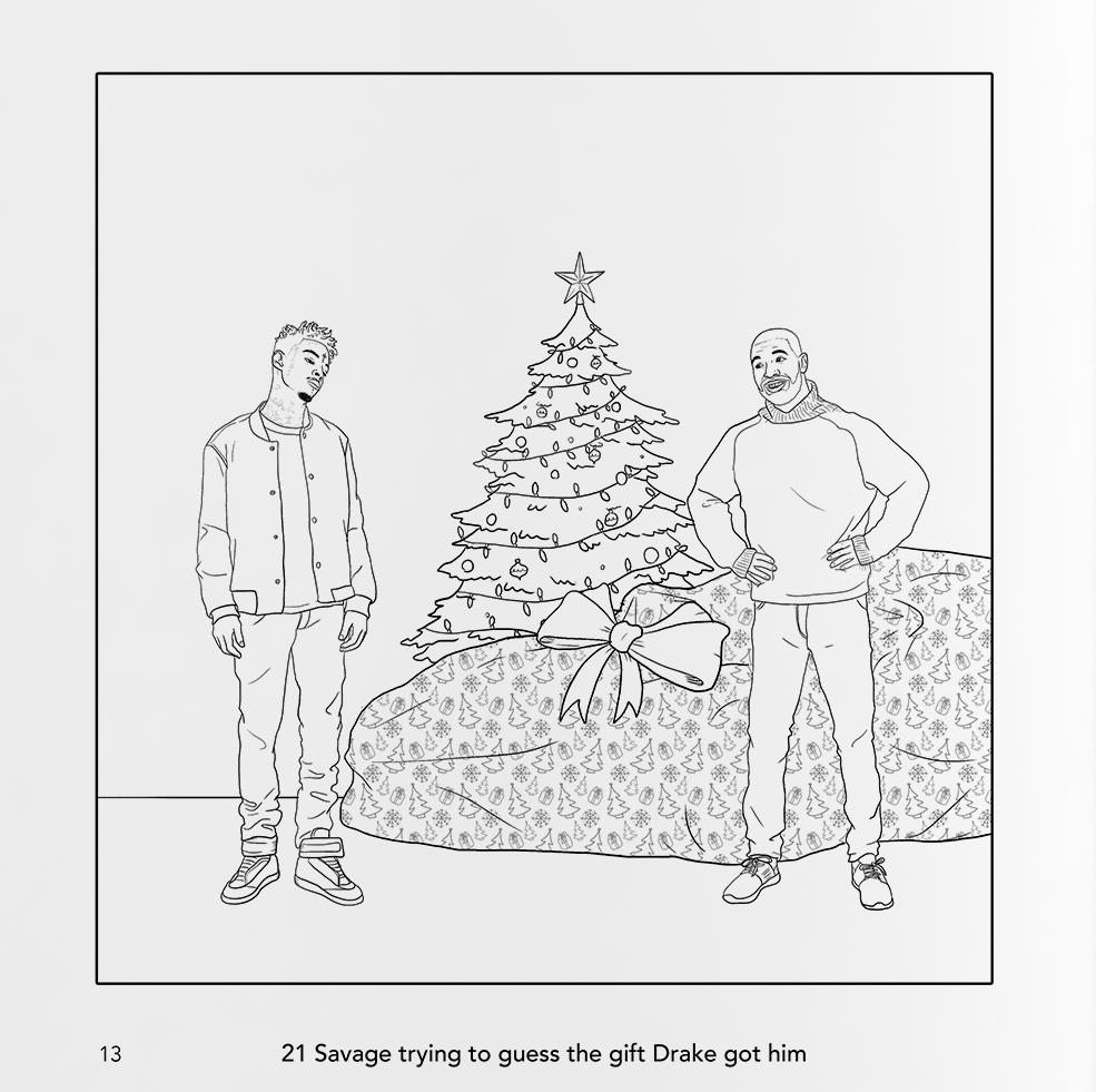 Drake and 21 Savage in the Hip-Hop Holiday Colouring Book (Jordan Caron)
