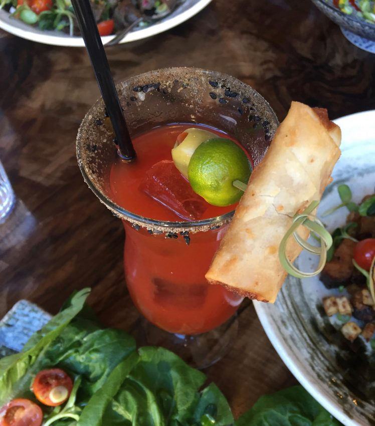 Caesar with Housemade Spring Roll (Hanna McLean/Daily Hive)