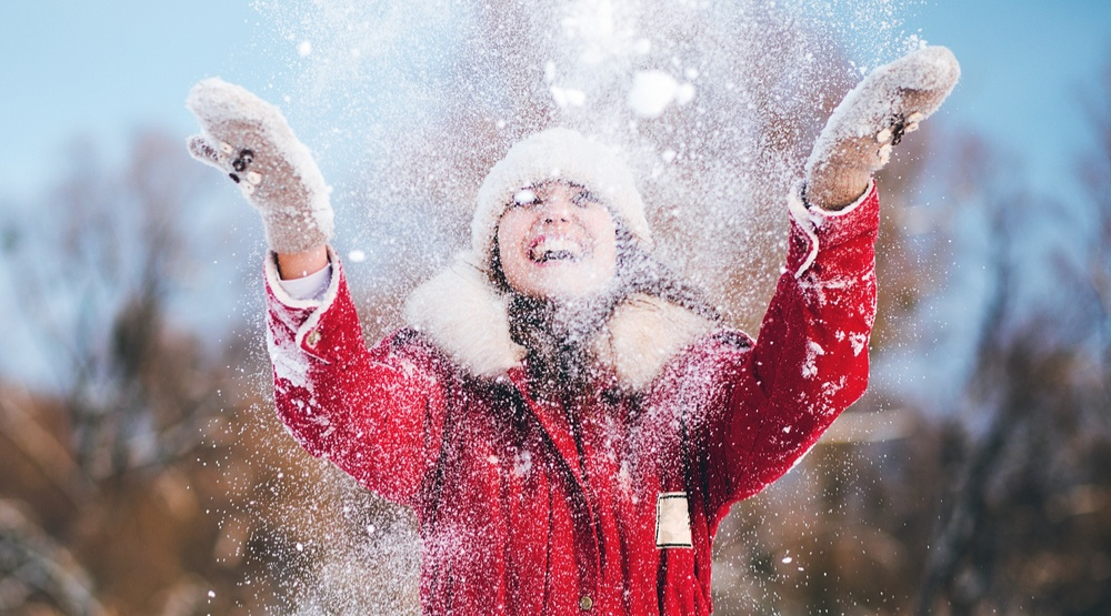 Woman in the snow shutterstock