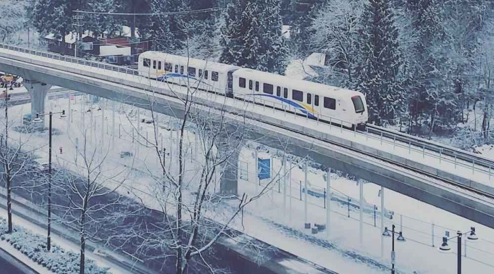Skytrain train snow snowfall