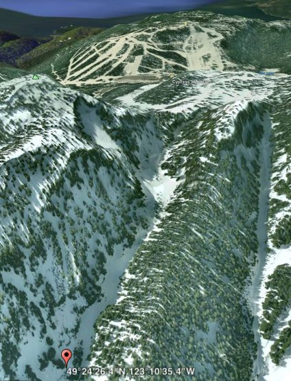 Satellite image showing where the skiers ended up. Cypress Mountain Ski area's runs can be seen in the background.