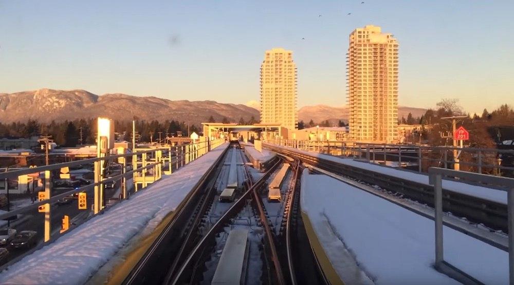 Skytrain evergreen line snow