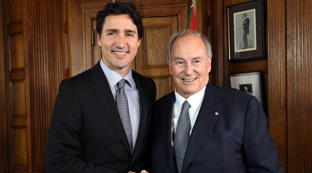 Prime Minister Justin Trudeau meets His Highness the Aga Khan in Ottawa in 2016 (Aga Khan Development Network/YouTube)