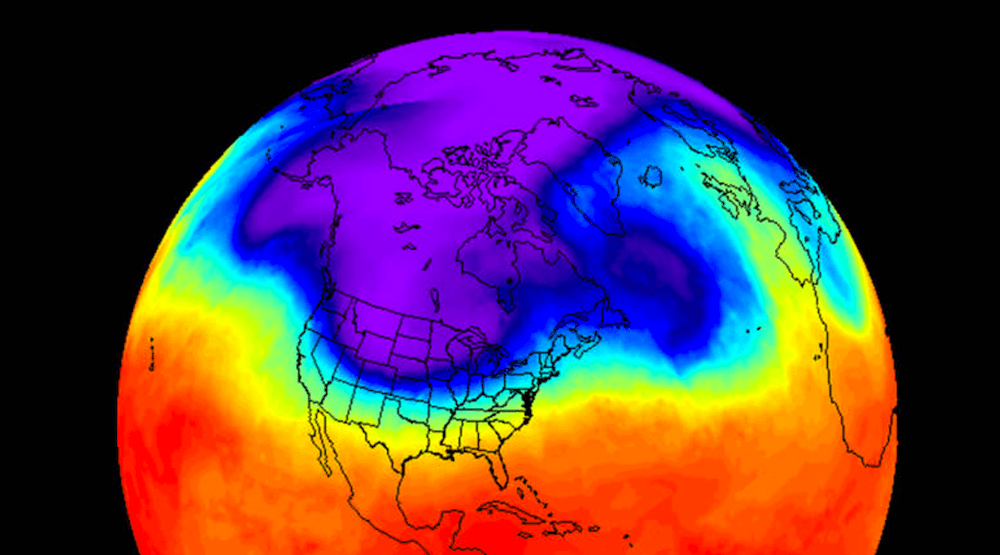 NASA's infrared imagery shows cold snap over Canada reaching -40°C