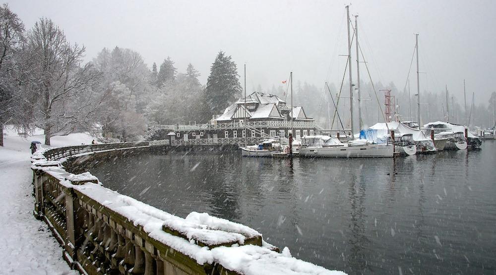 Stanley park seawall snowfall snow