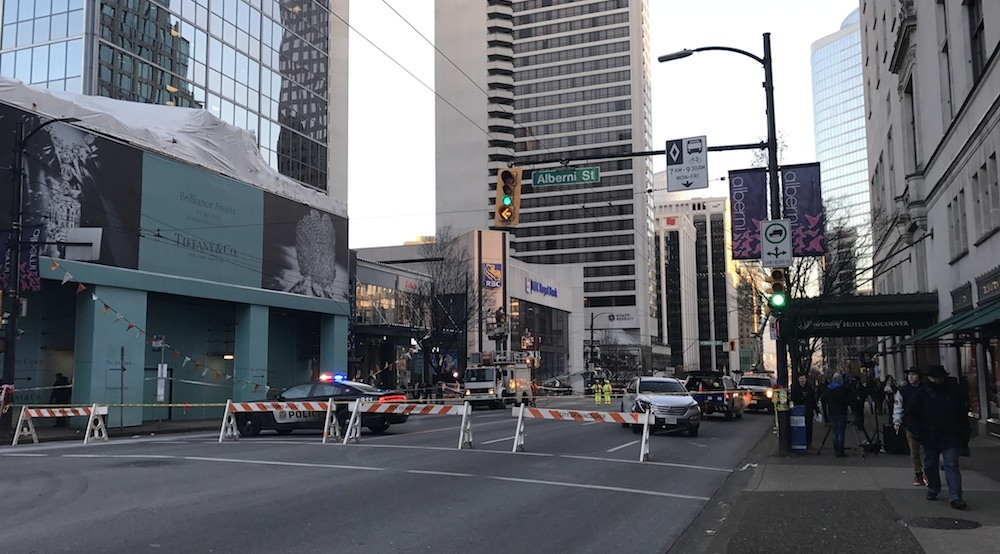 Car crash at Burrard and Georgia shuts down 4 blocks of downtown Vancouver