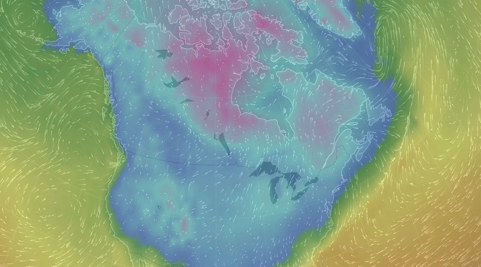 Nearly all of Canada and the US was 0°C or colder this morning