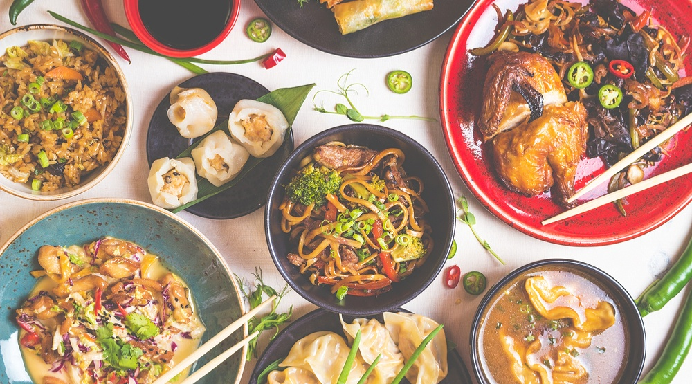 Assorted chinese food dishes