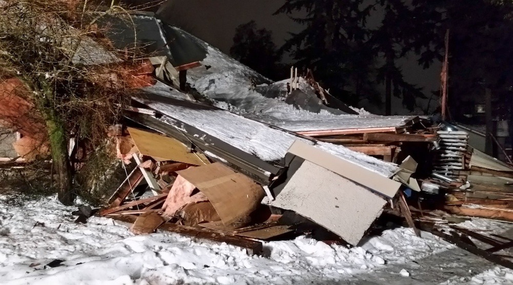 Roof collapses after heavy snowfall in New Westminster