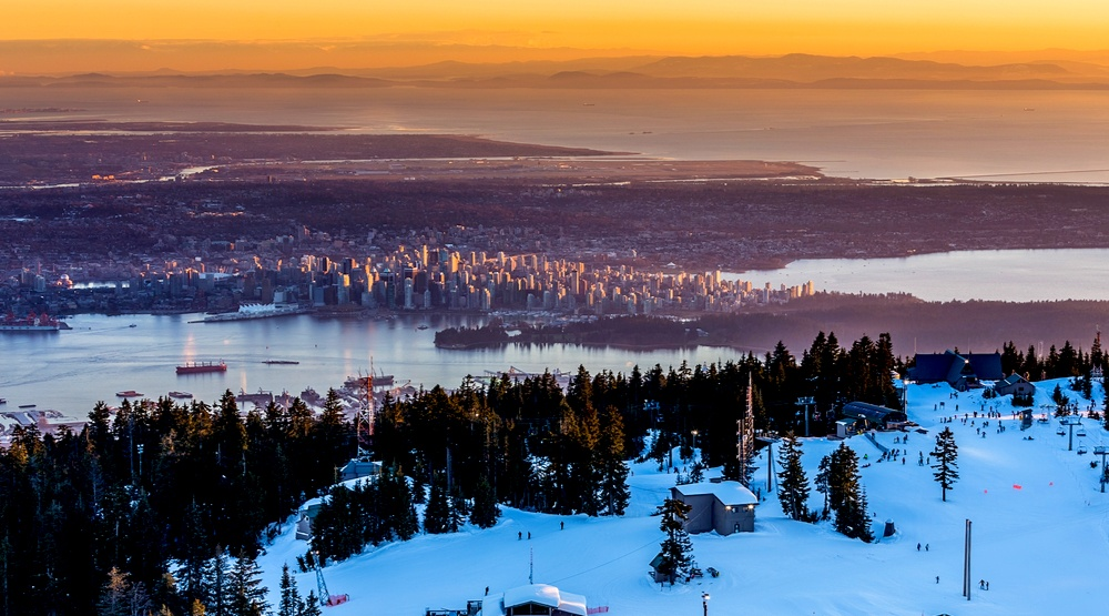Vancouver grouse mountain winter sunset