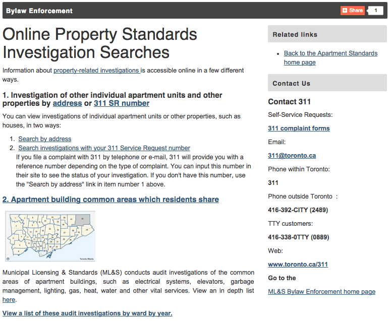 property standards search toronto