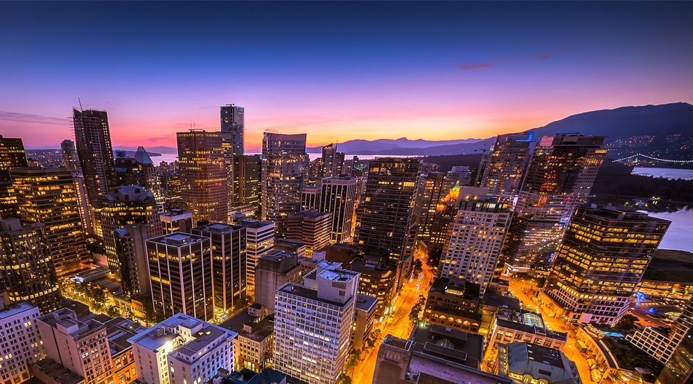 Sunset downtown vancouver