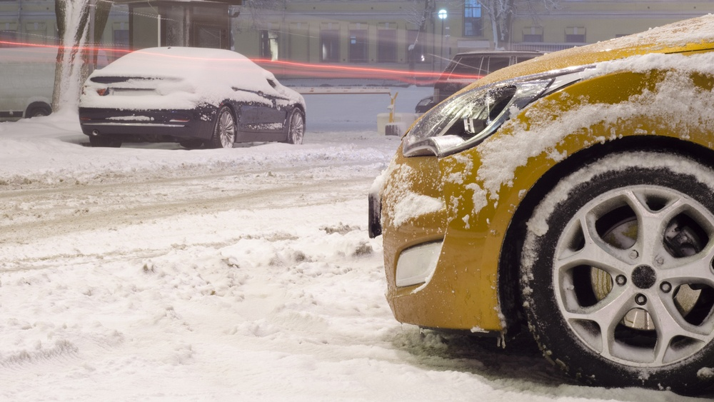 Snowing in city shutterstock