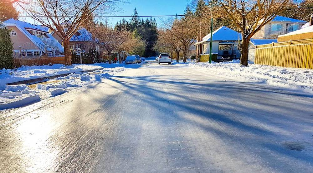 Vancouver streets are so icy people have been skating on them