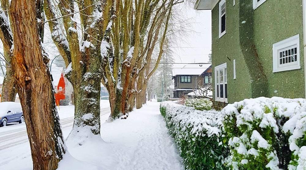 Vancouver snow sidewalk