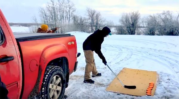 Canadians combine hockey and skeet shooting (VIDEO)