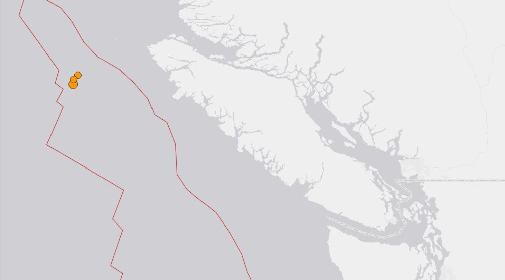 Three earthquakes up to magnitude 5.1 struck the Vancouver Island coast this morning