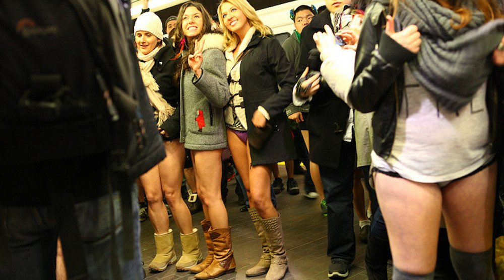 Bare it all at Calgary's No Pants C-Train ride on Sunday, January 8