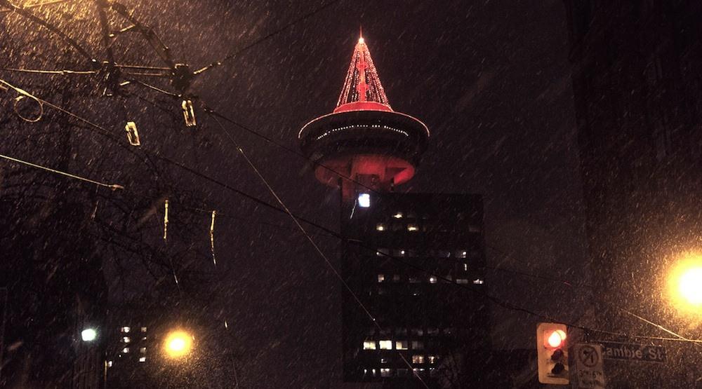 Vancouver harbour centre snow snowfall