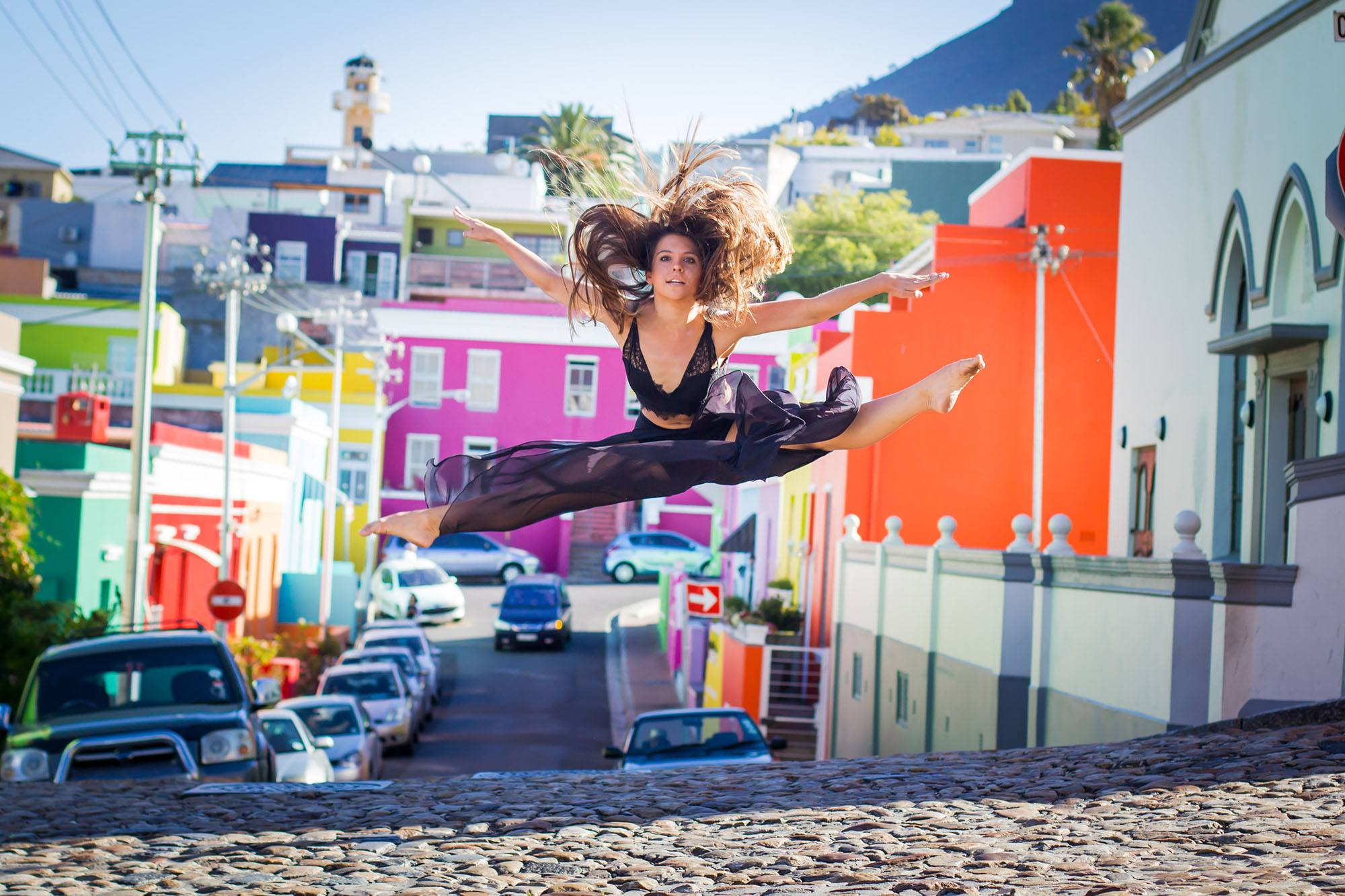 Palmira launches off a hill of cobblestones into a backdrop of colour provided by the Bo Kaap suburb. (Amanda Webb)