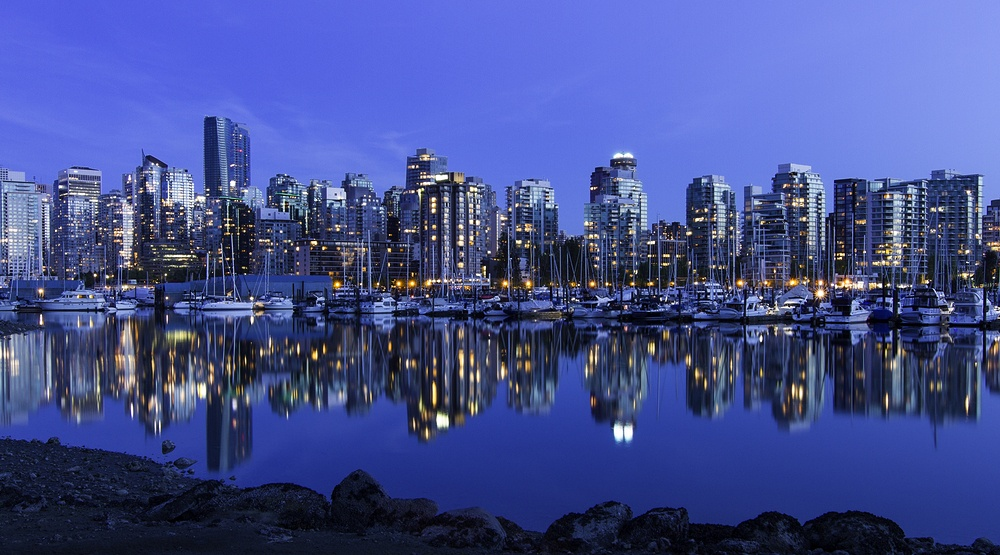 Vancouver skyline view at night shutterstock