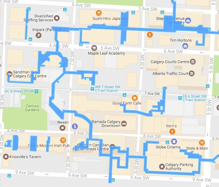 Downtown Calgary Hotels Map on