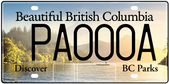 The new BC Parks licence plate featuring Porteau Cove (ICBC)
