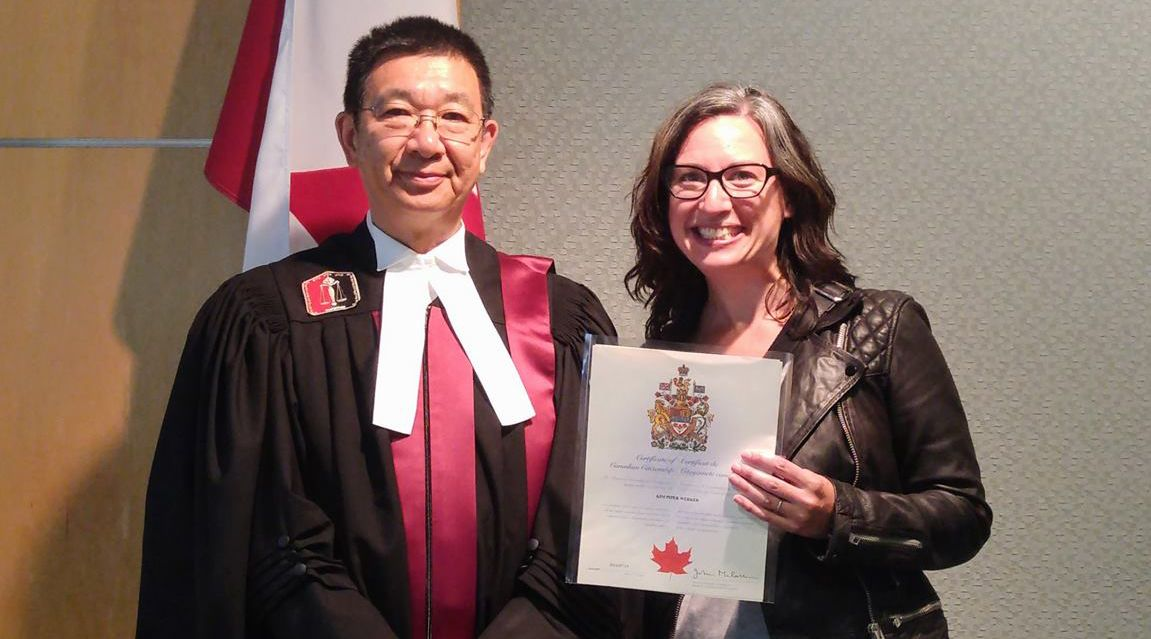 American Canadian author Kim Werker receiving her Canadian citizenship in July 2016 (Kim Werker)