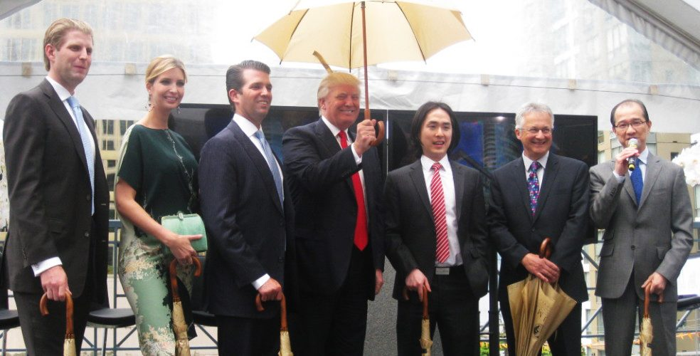 Eric Trump, Ivanka Trump, Donald Trump Jr. and now US President Donald Trump announcing the new Trump Tower Vancouver with Holborn Group CEO Joo Kim Tiah, Vancouver Coun. Geoff Meggs, and Magnum Projects' George Wong in 2013 (Kenneth Chan/Daily Hive)