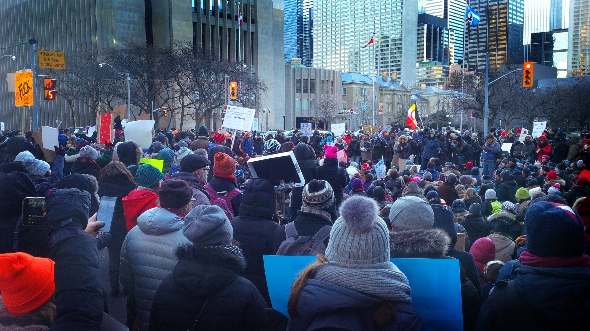 A massive demonstration is taking place at the U.S. Consulate General in Toronto right now