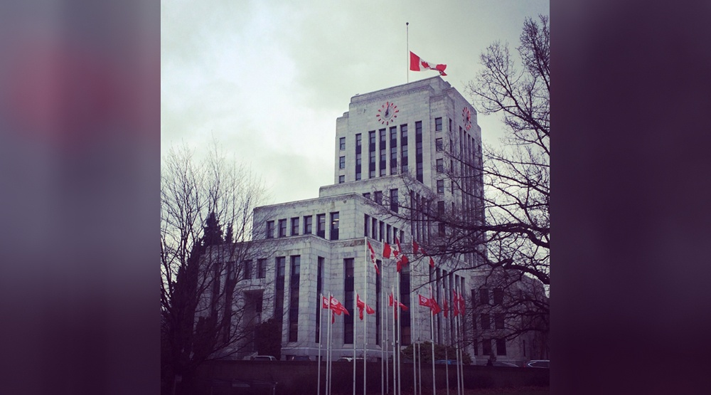Vancouver city hall flag half mast