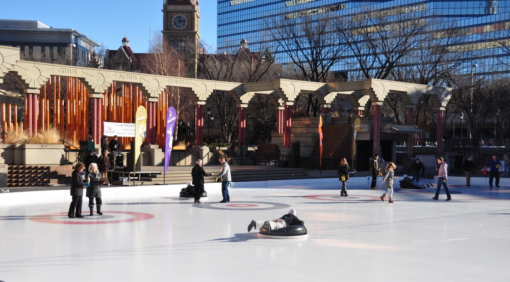 Human Bonspiel, AKA life size curling, comes back to Olympic Plaza